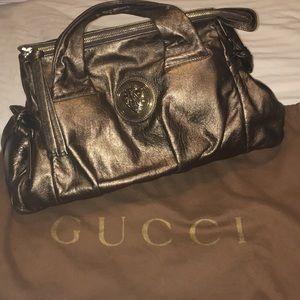 Gucci Gold Metallic Calfskin Hysteria Handbag